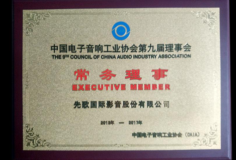 中国电子音响工业协会<br>第九届理事会常务理事